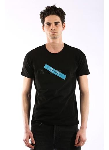 Rodrigo 3739 Baskili O Yaka Erkek Tshirt Siyah
